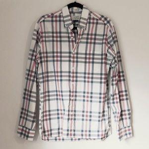 🌿 J.Crew Button Down Plaid Stripe Shirt Sz M Slim
